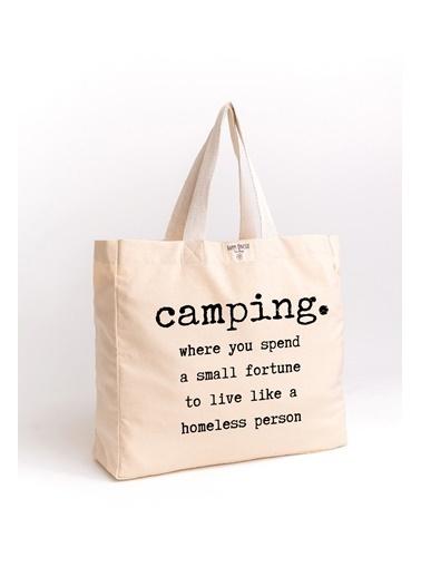 Happy Onesie Co Camping Baskılı Organik Yıkanmış Kanvas Çanta Krem